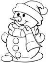 Снеговик в шапке с шарфом Рисунок раскраска на зимнюю тему