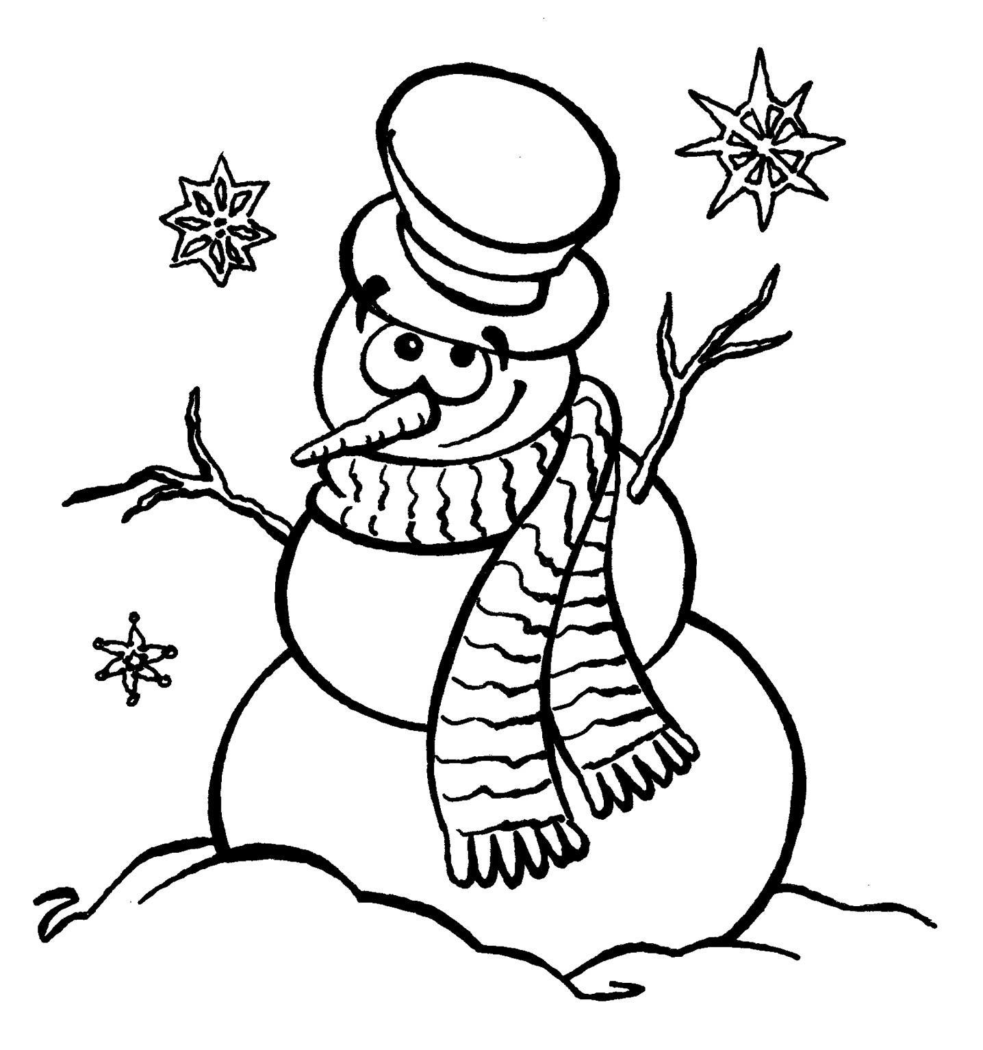 Снеговик в цилиндре с шарфом смотрит на снежинки Рисунок раскраска на зимнюю тему