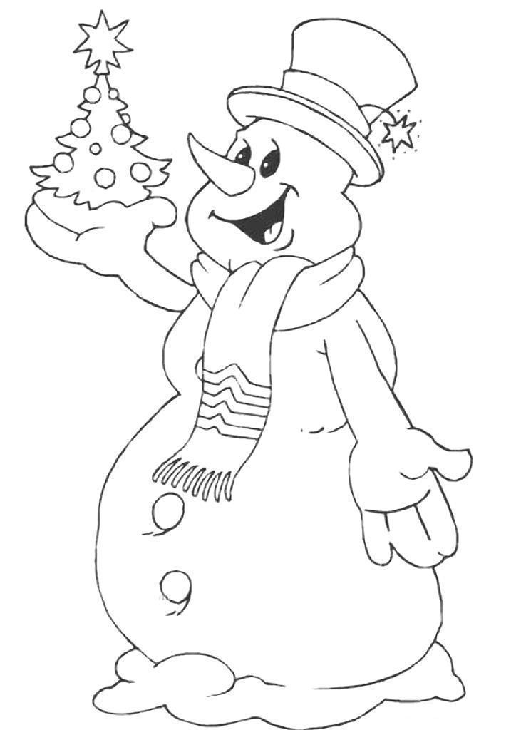 Снеговик держит елку в руке Рисунок раскраска на зимнюю тему