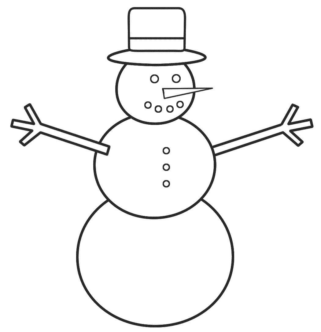 Снеговик для малышей Рисунок раскраска на зимнюю тему