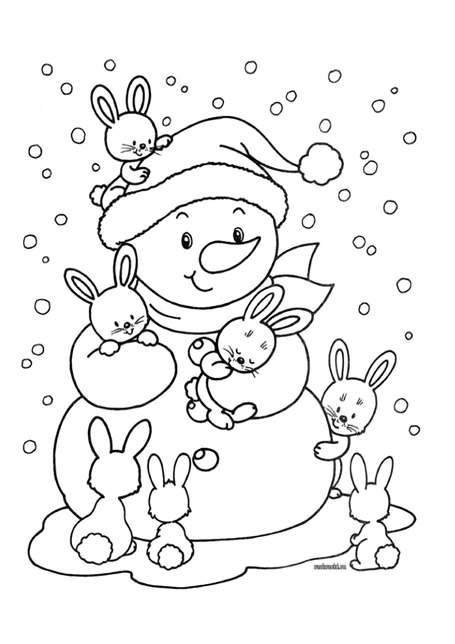 Снеговик с зайцами Рисунок раскраска на зимнюю тему