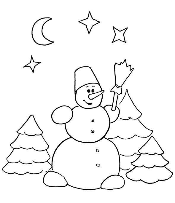 Снеговик в зимнем лесу ночью Рисунок раскраска на зимнюю тему