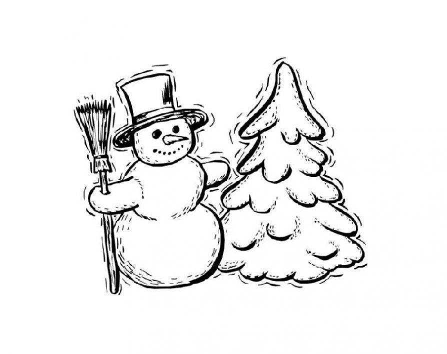 Раскраски елки и снеговика