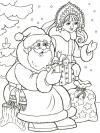 Дед мороз со снегурочкой Раскраска зима пришла