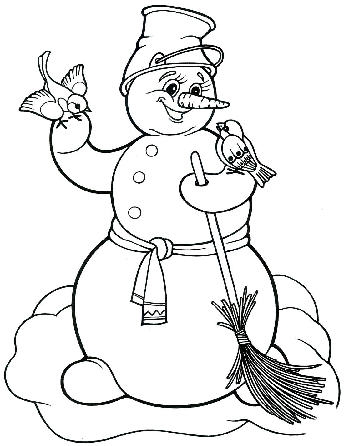 Картинки снеговики раскраски