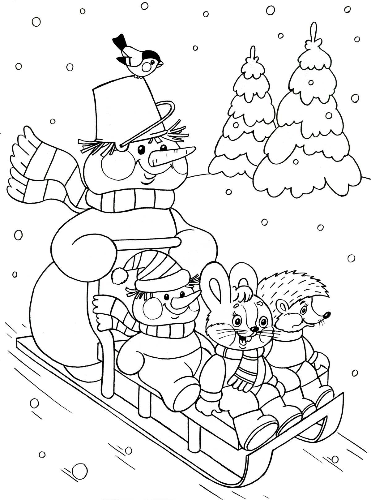 Снеговик катает зверят на санках Детские раскраски зима распечатать