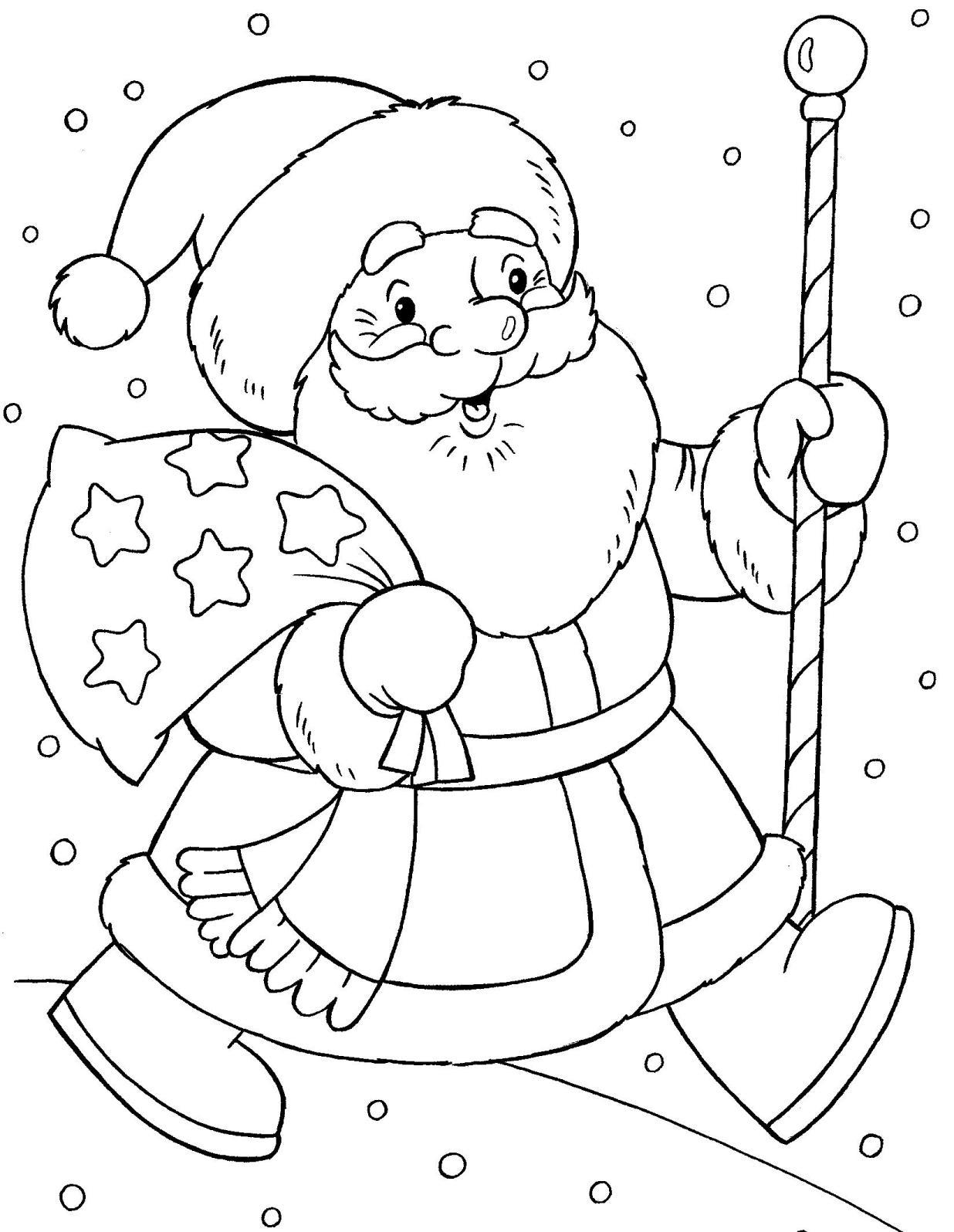 Дедмороз с посохом Раскраска зима пришла