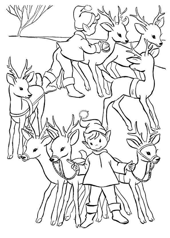 Эльфы с оленьей упряжкой Раскраски зимушка зима