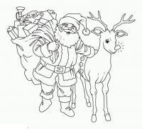 Сказки, сантаклаус с рудольфом Раскраска зима пришла