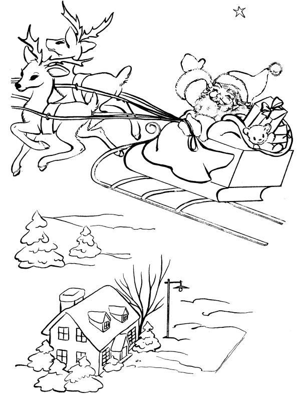 Дед сороз летит над городом в оленьей упряжке Раскраски зимушка зима