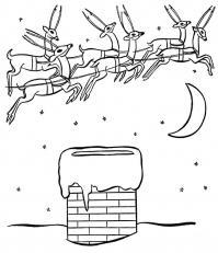Рождественская ночь и мчащиеся по небу олени Раскраски зимушка зима
