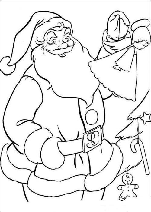 Дед мороз украшает елку Раскраска зима пришла
