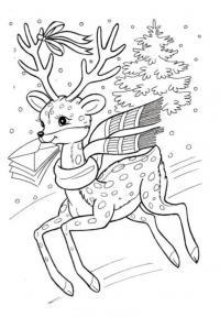 Олененок с письмом Раскраски зимушка зима