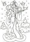 Зима, снегурочка с птицами Раскраски зима скачать бесплатно