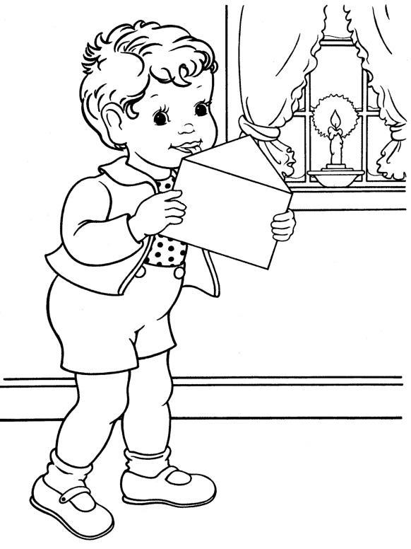 Мальчик отправляет письмо деду морозу Раскраска зима пришла