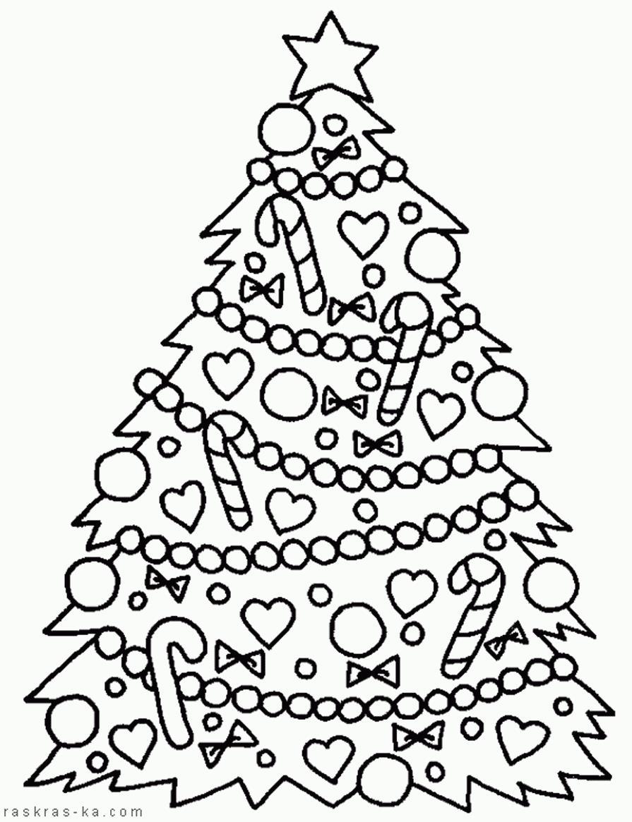 Украшенная елочка как из сказки Раскраски на тему зима