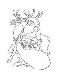 Дед мороз с мешком игрушек и его олень Раскраска зима пришла
