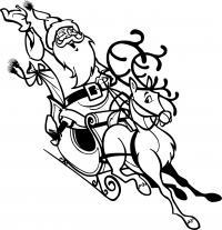 Смеющийся дед мороз на олене Раскраски зимушка зима