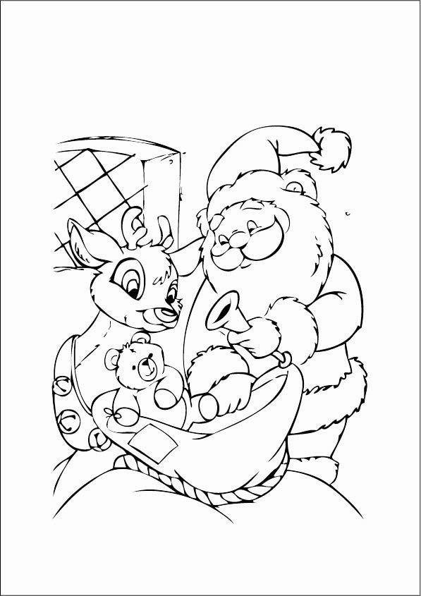 Дед мороз достает подарки из мешка Раскраска зима пришла