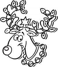 Олень с бубенцами и звездой на голове Раскраски зимушка зима