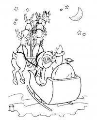 Дед мороз в санях летит по небу Раскраска зима пришла