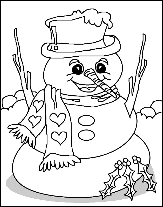 Зима, дробрый снеговик в шарфике в сердечку Рисунок раскраска на зимнюю тему