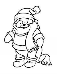 Винни пух в шарфе и шапочке Раскраски зимушка зима