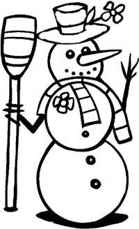 Зима, снеговик в шляпе с цветочком Рисунок раскраска на зимнюю тему