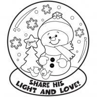 Зима, снежный шар со снеговиком Рисунок раскраска на зимнюю тему