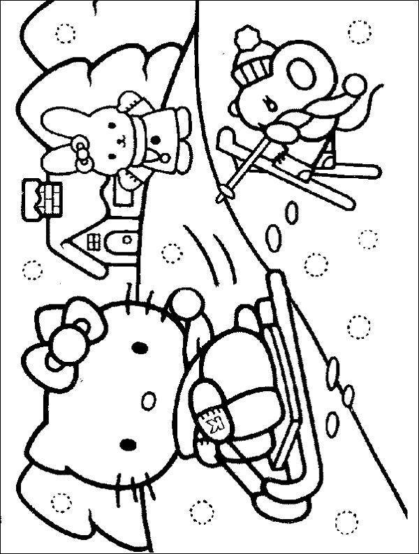 Зима а мире кошечки китти Детские раскраски зима распечатать