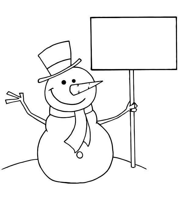Зима, снеговик с лопатой Рисунок раскраска на зимнюю тему