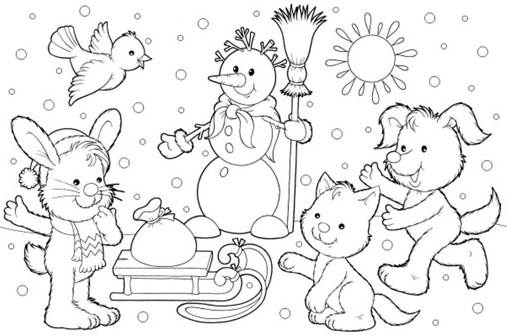 Котенок Зверята играют возле снеговика Раскраски на тему зимаРаскраски про зиму