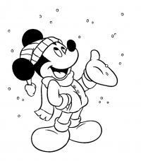 Микки маус под снегом Детские раскраски зима распечатать