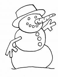 Снеговик с большим носом Рисунок раскраска на зимнюю тему
