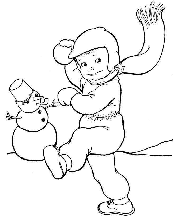 Мальчик играет в снежки Рисунок раскраска на зимнюю тему