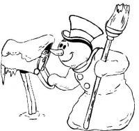 Снеговик проверяет почту Рисунок раскраска на зимнюю тему