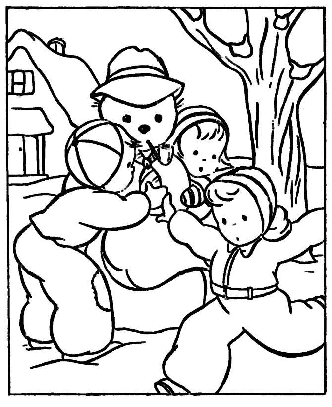 Дети играют со снеговиком Рисунок раскраска на зимнюю тему