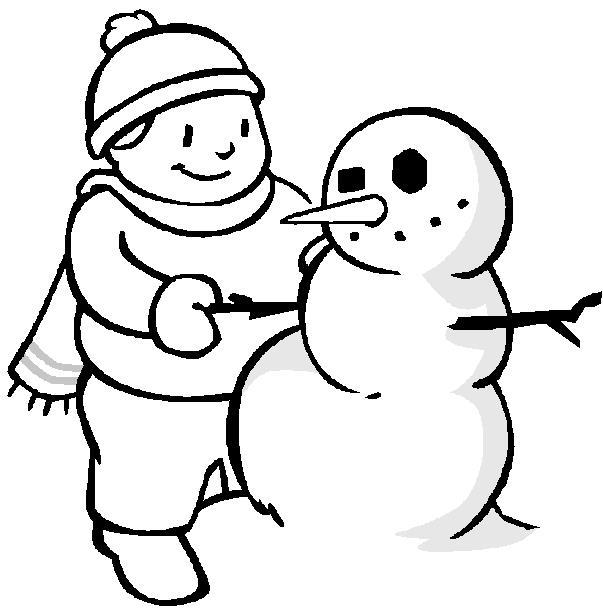 Мальчик лепит снеговика Раскраска сказочная зима