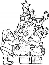 Дед мороз и олень наряжают елку Раскраска зима пришла