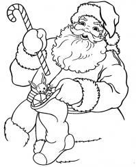 Дед мороз кладет подарки в носок Раскраска зима пришла