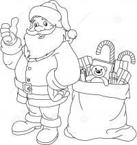 Веселый дед мороз с игрушками Раскраска зима пришла