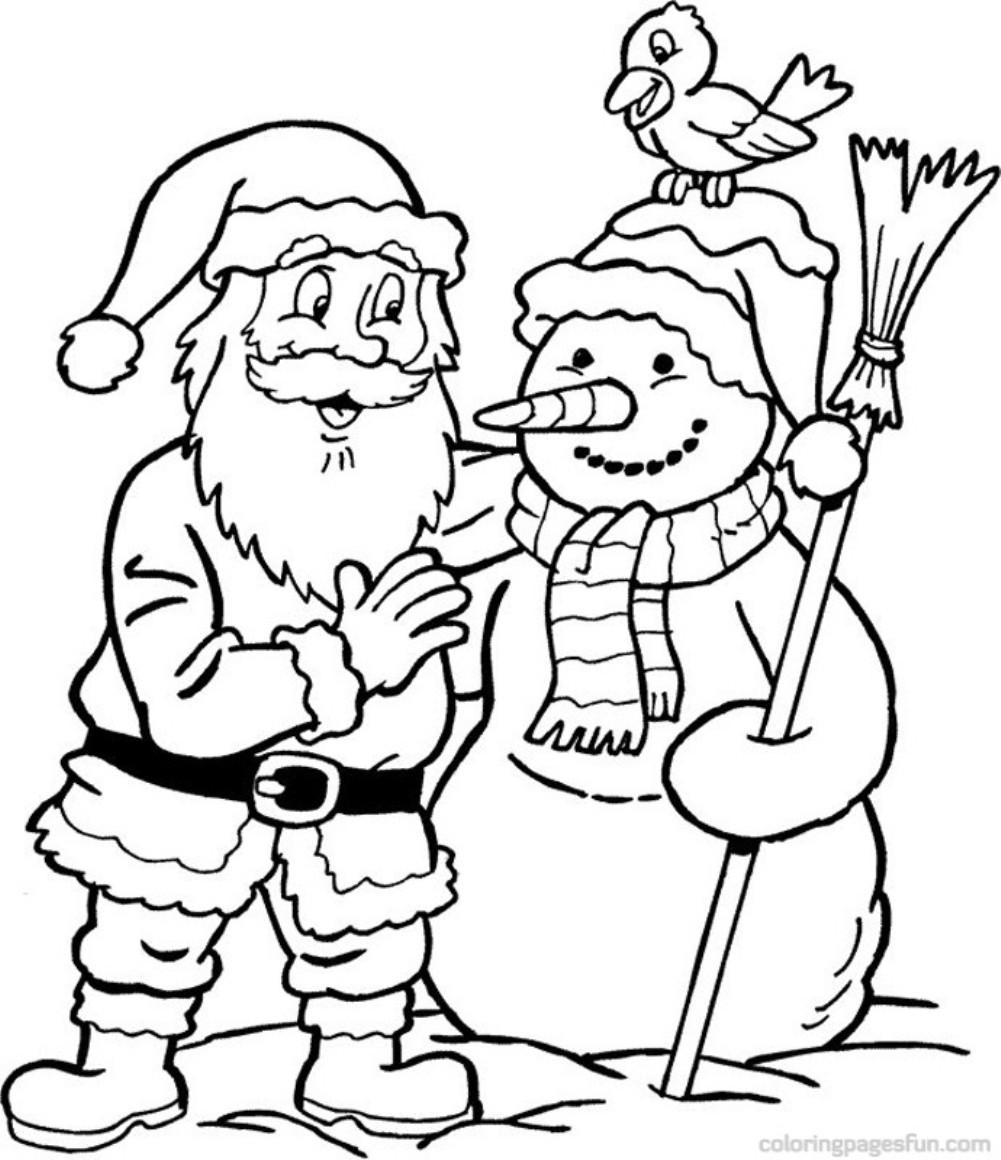 Дед мороз и снеговик Раскраски про зиму для детей