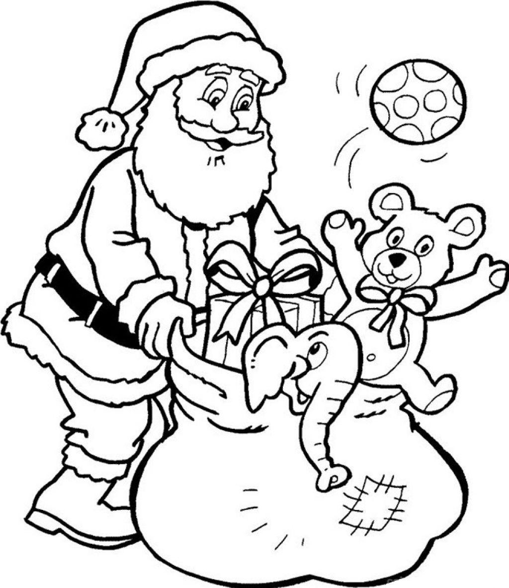 Дед мороз с игрушками в подарок Раскраска зима пришла