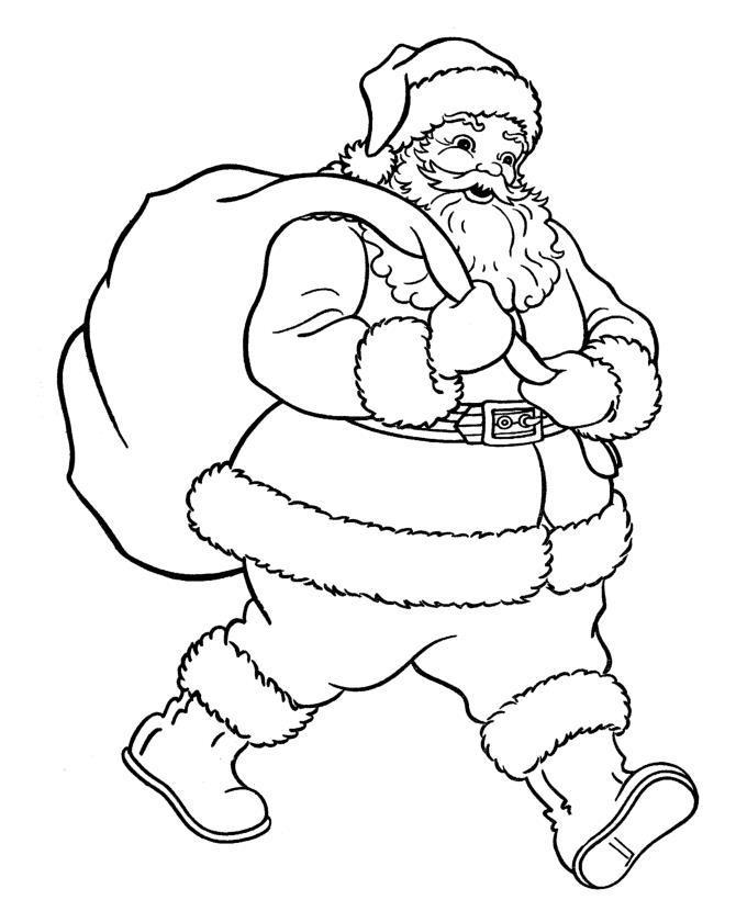 Дед мороз с подарками Раскраска зима пришла