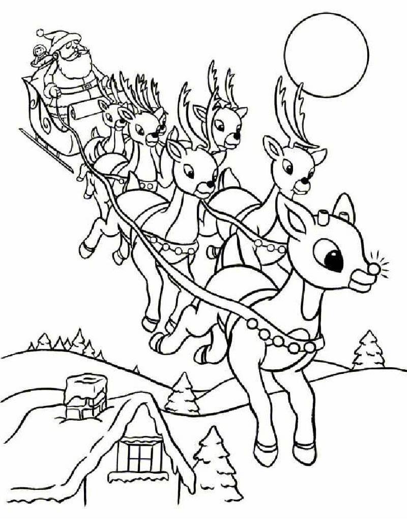 Дед мороз в санях летит с оленями Раскраска зима пришла