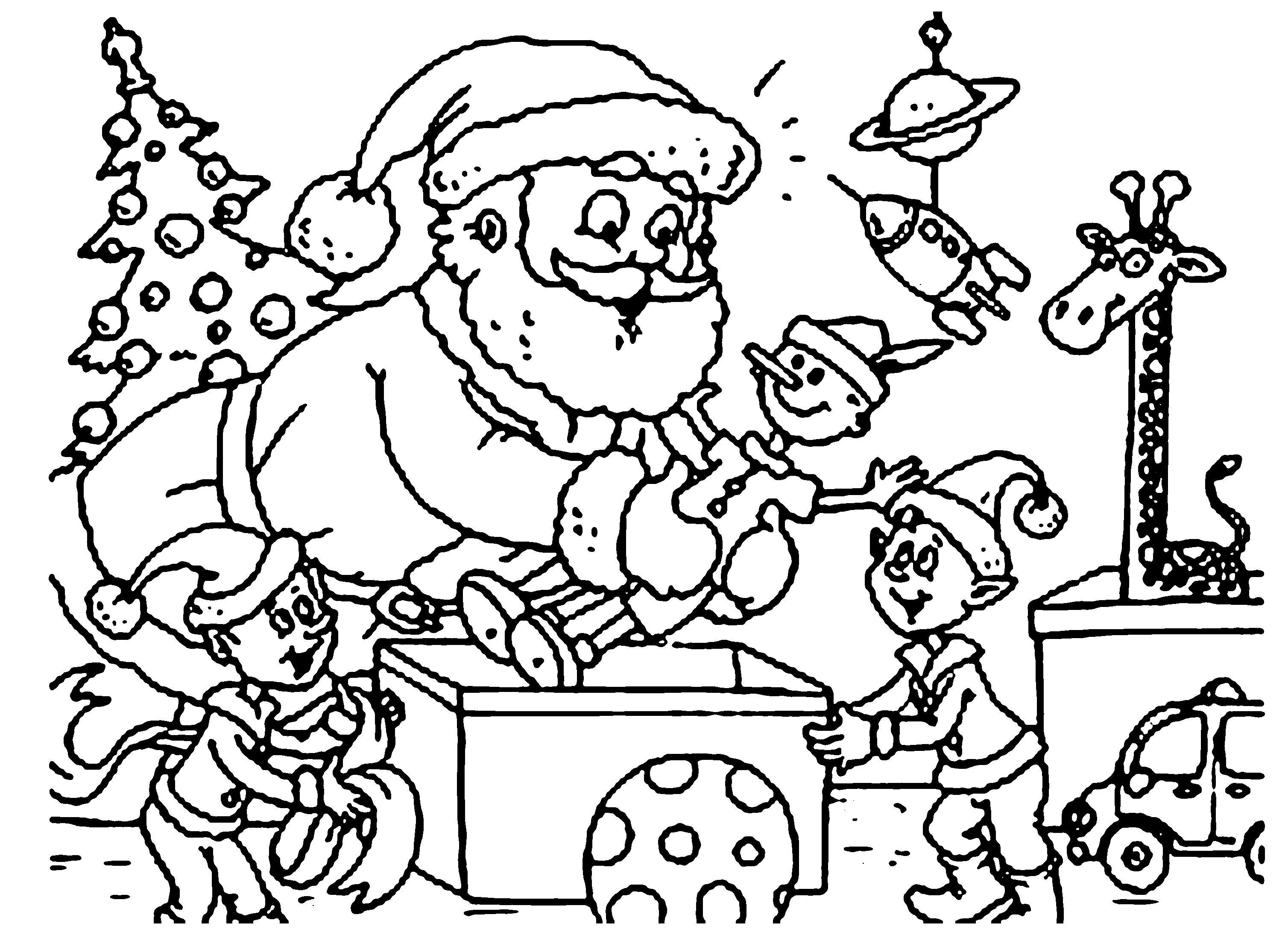 Санта клаус и эльф делают подарки игрушки к новому году Раскраска зима пришла