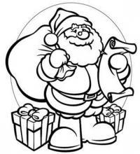 Дед мороз со списком детишек Раскраска зима пришла
