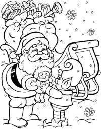 Санта клаус и эльф Раскраска зима пришла