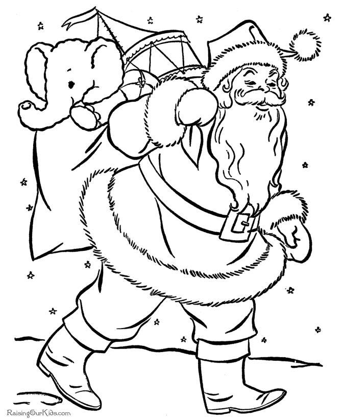 Дед мороз едет с подарками, слоненок Раскраска зима пришла