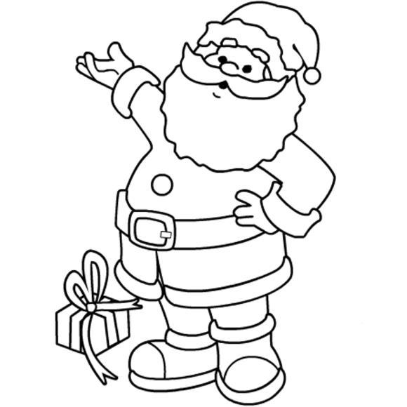 Дед мороз с подарком Раскраски зима распечатать бесплатно